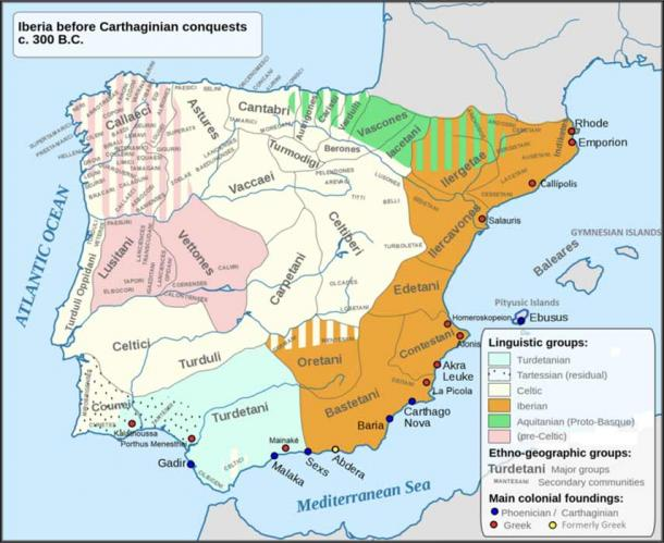 Main language areas, people and tribes in the Iberian Peninsula (c. 300 BC) (CanBea87 /CC BY-SA 4.0)
