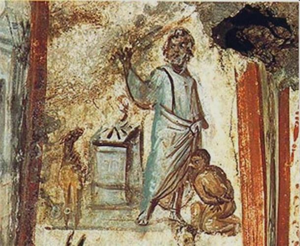 Father Abraham slaying his son Isaac, clearly wearing a payot (c 320 AD) (Public Domain)