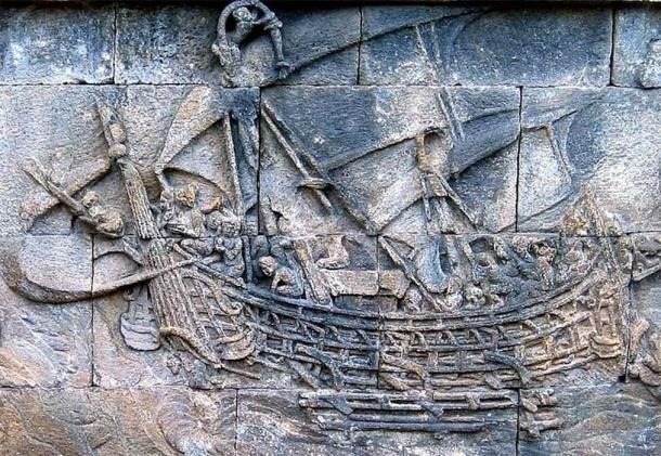 A Borobudur ship from the eighth century, a large native outrigger trading vessels, possibly of the Sailendra and Srivijaya thalassocracies (CC BY-SA 2.5)