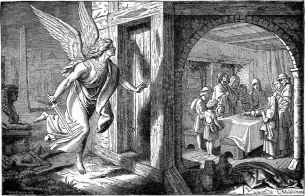 """""""The Angel of Death and the First Passover,"""" Illustrators of the 1897 Bible Pictures and What They Teach Us by Charles Foster, 1897. (Public Domain)"""