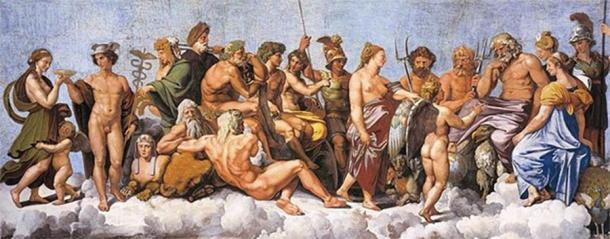 The Council of Gods by Raphael (1517) Villa Farnesina (Public Domain)