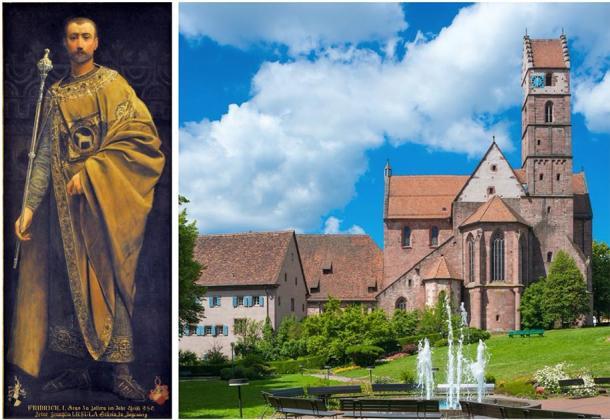 Friedrich I (Count of Zollern – left) and Alpirsbach Abbey (right). (Saturnian / CC BY-SA 3.0) / (Jürgen Wackenhut / Adobe stock)