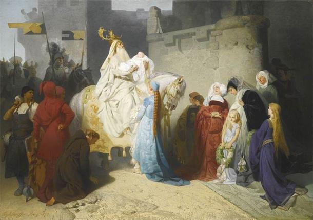 Merlin presenting the future king Arthur by Emil Johann Lauffer (pre 1909) (Public Domain)