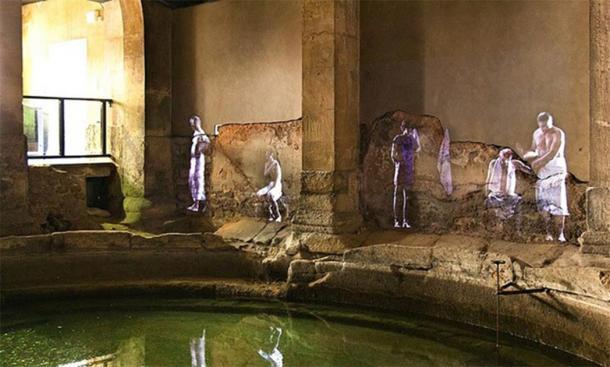 Hologram projections at the Roman Baths, Bath, England (Britishfinance/ CC BY-SA 4.0)