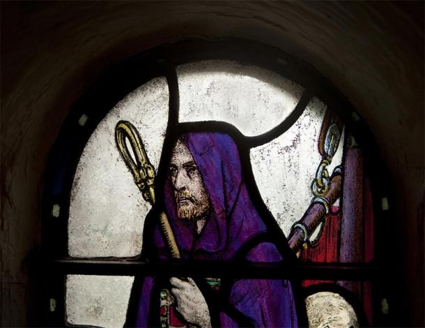 Stained glass of shepherd with crook (searagen/ Adobe Stock)