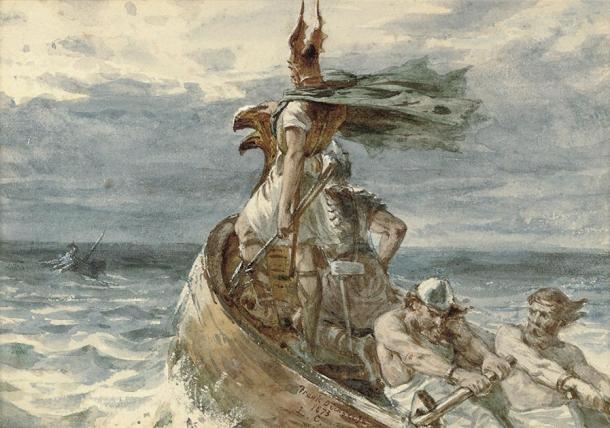 Depiction of a Viking and his men heading to land. (Frank Dicksee / Public domain)