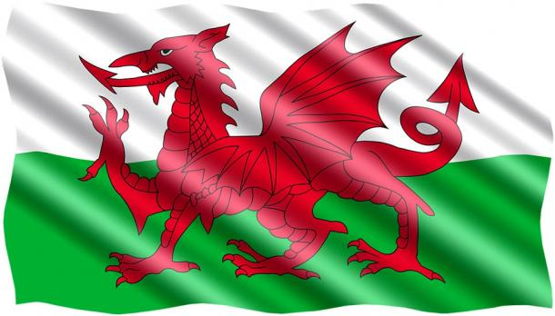 Welsh Dragon symbol on the flag of Wales.  Source: Public Domain