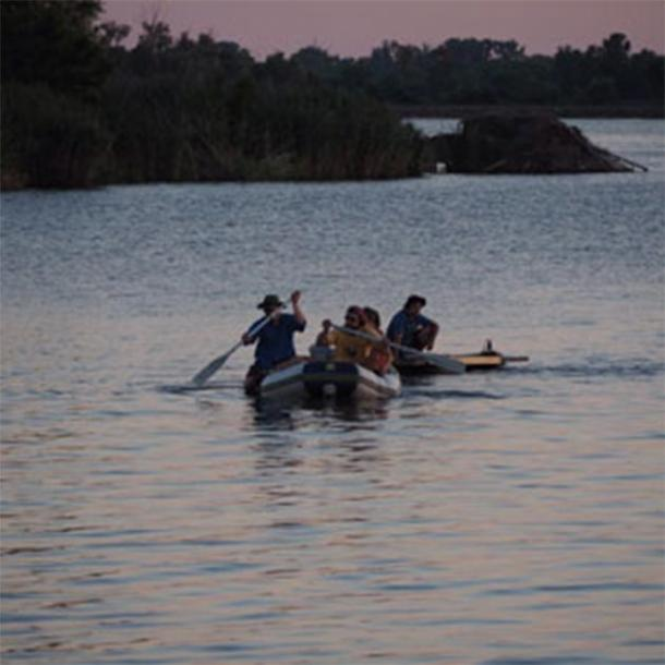 A.J. White and colleagues paddle out onto Horseshoe Lake in search of evidence of ancient Cahokia tribe. (A.J. White)