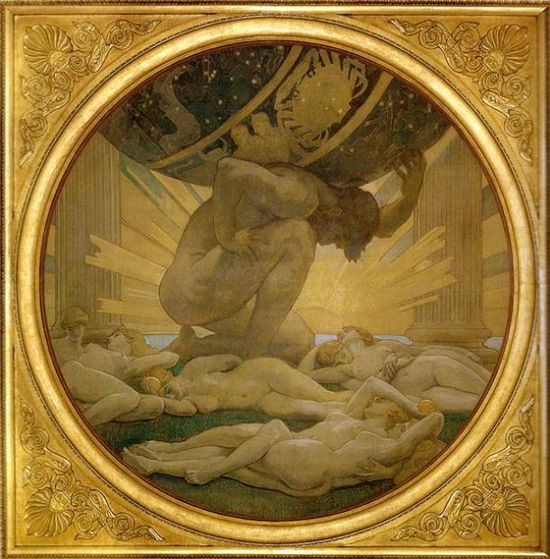 Atlas y las Hespérides. (Dominio publico)