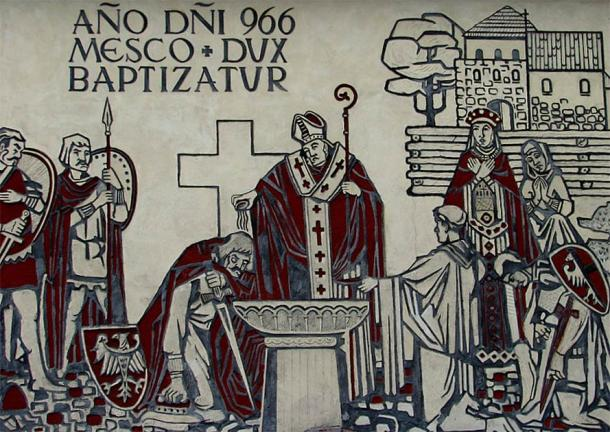 A mural in Gniezno commemorating the baptism of Mieszko I of Poland. (Public Domain)