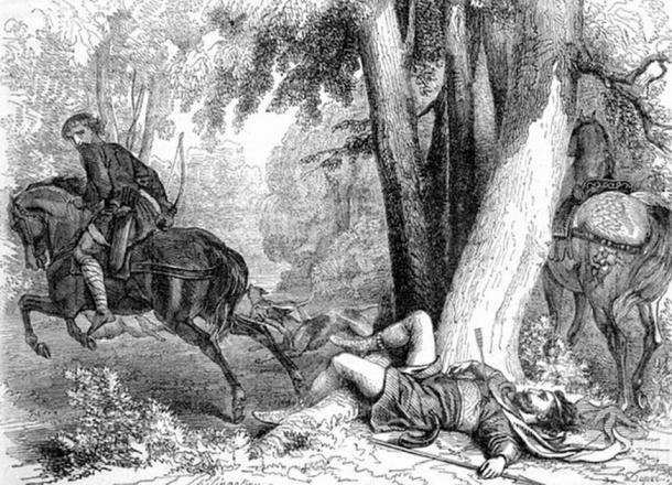 Legend has it that William Rufus was killed by Sir Walter Tyrrell while out hunting in the New Forest. Whether it was an accident or an assassination, we'll never know. (John Cassell / Public Domain)