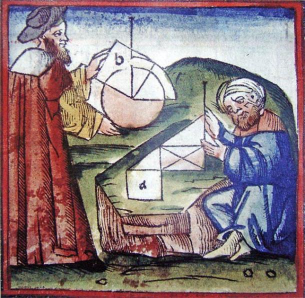 Manuscrito del siglo XV que muestra pensadores occidentales y árabes practicando geometría. (Dominio público)