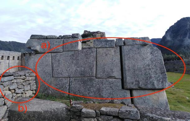 I recently observed this phenomenon myself at Machu Picchu, Peru - a) shows the precise Category 4 masonry and b) shows the cruder Category 2 stone work - most likely an attempt at imitation. (Provided by the author from his upcoming book The Wise Ones)