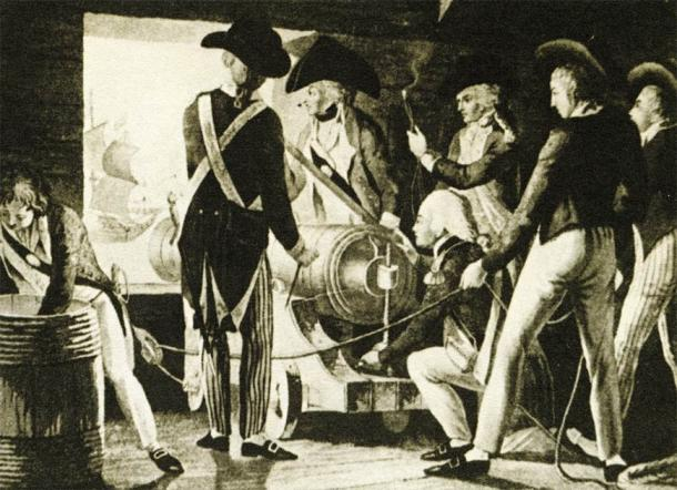 English sailors operating a cannon (ca. 1800) (Juulijs / Adobe Stock)