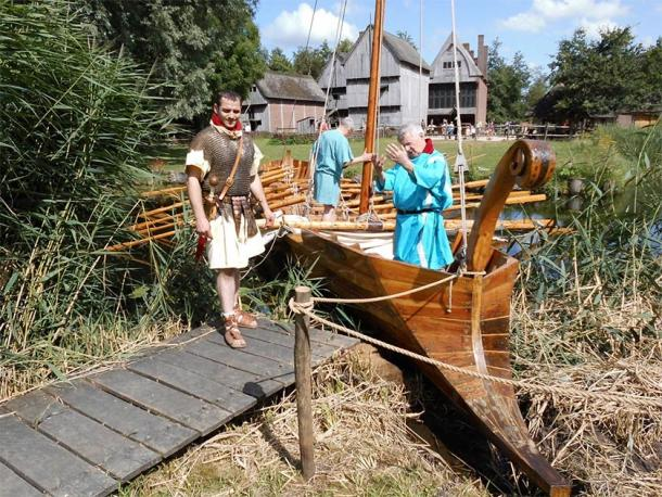 Reconstructed Roman naval ship showing both sail and oars. (Image courtesy of author)