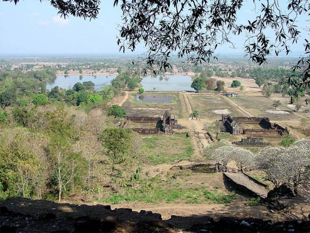 The two barays (upper left) at the beginning of the approach to Vat Phou Temple, Laos (Michael Gunther / CC BY-SA 4.0)