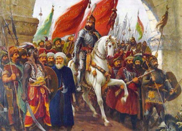 Mehmed II of the Ottoman Empire, entering Constantinople. Source: Karamanli86 / Public Domain.