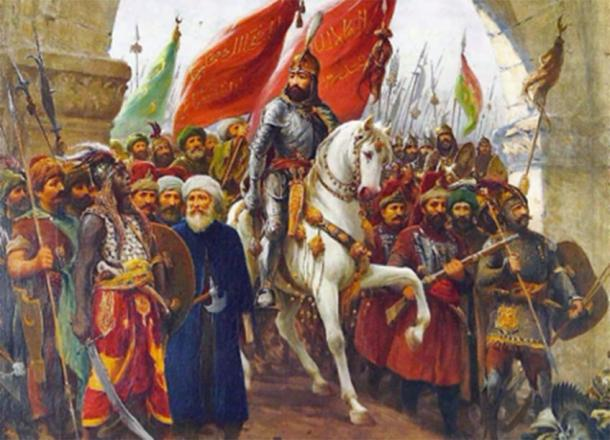 Mehmed II of the Ottoman Empire, entering Constantinople. Source: Karamanli86 / Public Domain.