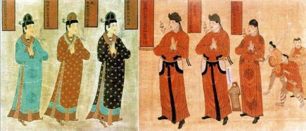 Tangut women (Public Domain) and men. (Public Domain)