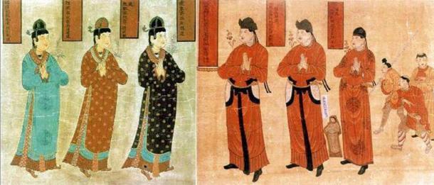 Tangut women (Public Domain) and men. (Public Domain)