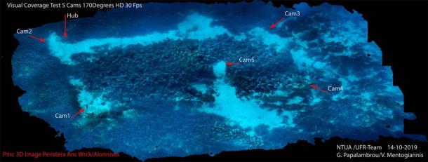 Location of the 5 underwater AI robot cameras off the coast of Alonnisos in the Aegean Sea (NOUS)