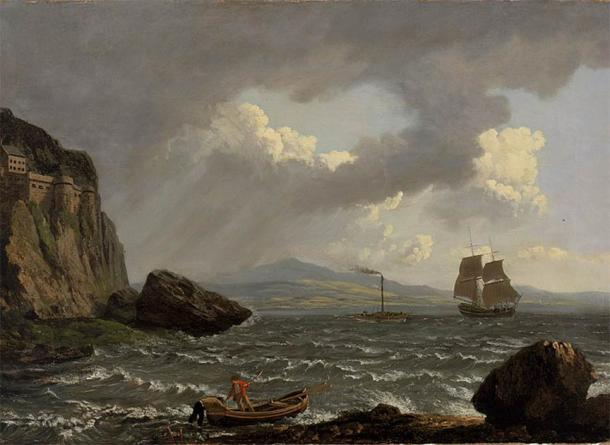 19th century painting showing Dumbarton Castle on the left. The castle attracted tourists and travelers visiting for day trips during the 1800s. (Public domain)