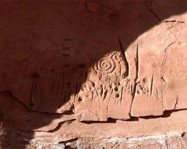 Close up of the spiral patterns that appear prominently in the rock carvings and are thought to be a symbol among ancestral Pueblo people for the sky or the sun. (Jagiellonian University)