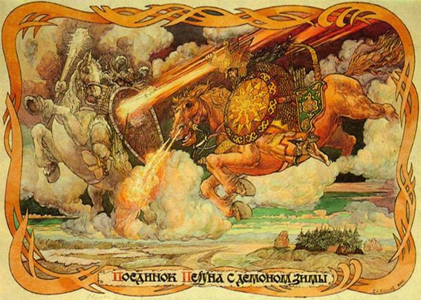 The Polabian Slavs were firm believers in the Pagan pantheon, including Perun and Veles, depicted here during their legendary battle. (Russian Culture)