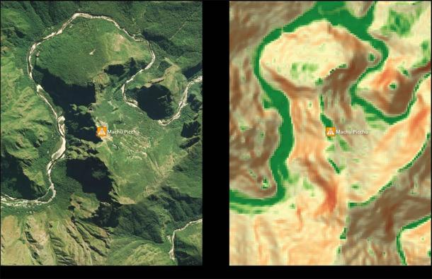 Fragment of the Settlement Suitability Map in the area around Machu Picchu. (Paititi Research Team)