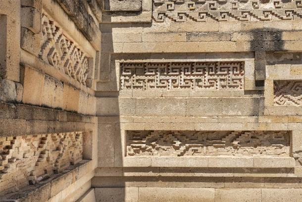 The stone friezes at Mitla, all made without the use of mortar! (LRafael / Adobe Stock)