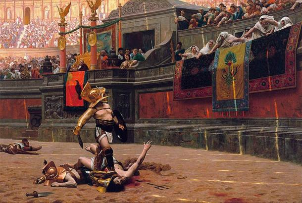 """Flamma the Gladiator was revered by the Roman people for his feats in the arena. This 1872 painting by Jean-Léon Gérôme, depicts the power of ancient Roman crows in deciding the fate of defeated gladiators, with verso pollice, or """"with a turned thumb"""". (Public domain)"""