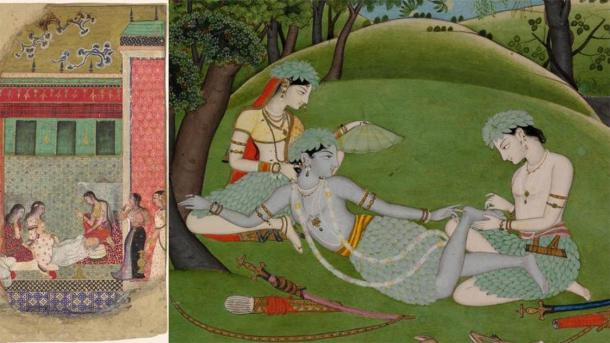 Left: The Death of King Dasharatha, the Father of Rama: A Ramayana Islamic, Mughal period folio (1526–1858), ca. 1605. Right: Rama, Sita, and Lakshmana Begin Their Life in the Forest India, Punjab Hills, kingdom of Kangra, ca. 1800–1810. (Credit: The Met New York Ramayana exhibition on Architectural Digest)