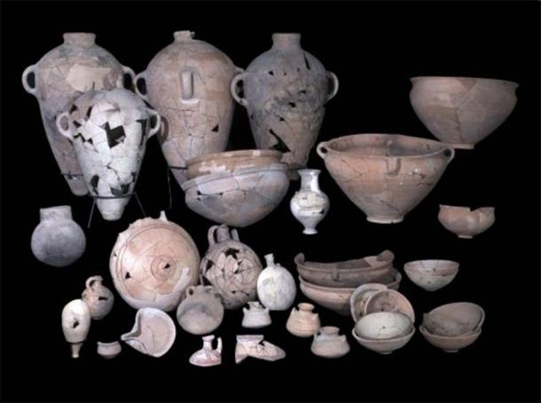 Pottery found at the Canaanite temple excavation site. (Clara Amit / IAA)