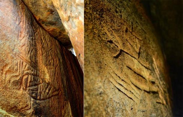 Left; Danigala Chithra Lena - Linear chamber entrance and left wall representing sections of the Petroglyphs, includes anthropomorphic figures. (Image © EASL | CCF-Polonnaruwa) Right; Left side wall of inner chamber representing anthropomorphic figures like human and a bow & arrow. (Image © EASL | CCF-Polonnaruwa)