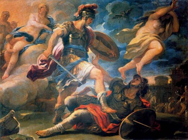 Painting by Luca Giordano depicting Aeneas defeating Turnus in revenge for his having murdered Pallas. (Public domain)