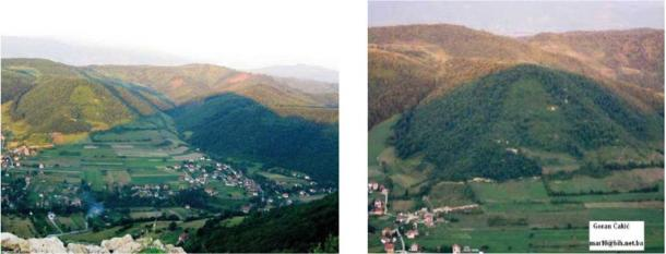 Photos show interaction between the shadow cast by the Bosnian Pyramid of the Sun upon the Bosnian Pyramid of the Moon. Image left shows shadow on Summer Solstice matching height of Moon Pyramid, which by midsummer moves to totally cover the pyramid (right). (Richard Hoyle / The Bosnian Pyramid of the Sun Foundation)