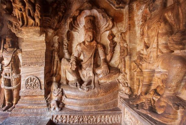 This Stone Shiva in the historic caves in Badami, India, is an example of 6th century temple artwork found within the Badami Chalukya architecture. (radiokafka / Adobe Stock)