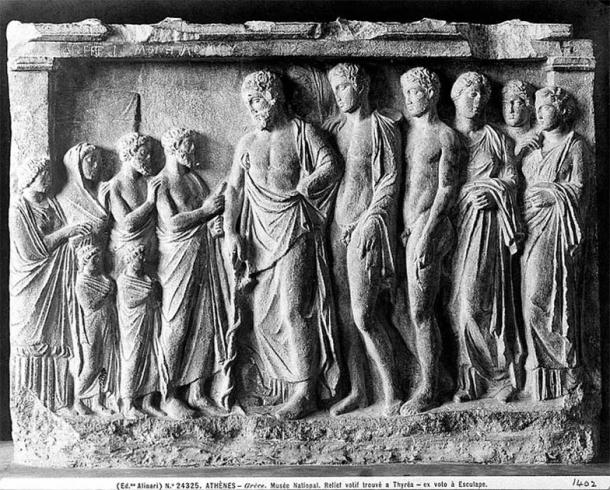 Greek relief at the National Museum in Athens showing Asclepius with his sons Podalirius and Machaon and three daughters. (Wellcome Images / CC BY 4.0)