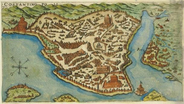 Map of the island of Constantinople (mod. Istanbul), created in 1597 by the Venetian Giacomo (Jacomo) Franco (1550-1620). (CC BY-SA 3.0)