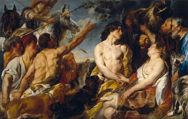 Painting by Jacob Jordaens showing the Greek goddess Atalanta, who is often painted equipped with a bow, spear, and dogs. (Public domain)