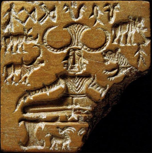Meditating three-headed figure on an Indus Valley seal. Mohenjo-daro, c. 2600-1900 BC. (Public Domain)