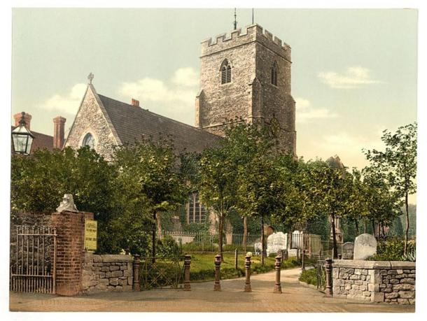 A Photochrom image of the church in the 1890s. View from the north-east. (Public Domain)