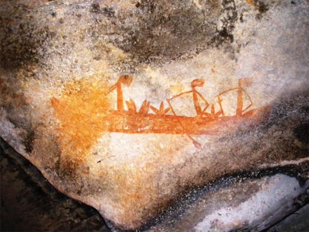 """""""Gwion Gwion"""" rock art depicting a boat, Kimberley, Australia. (Classconections)"""