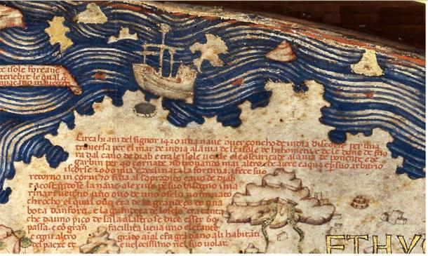 Detail of the Fra Mauro map relating the travels of a junk into the Atlantic Ocean in 1420. The ship also is illustrated above the text. (Public Domain)
