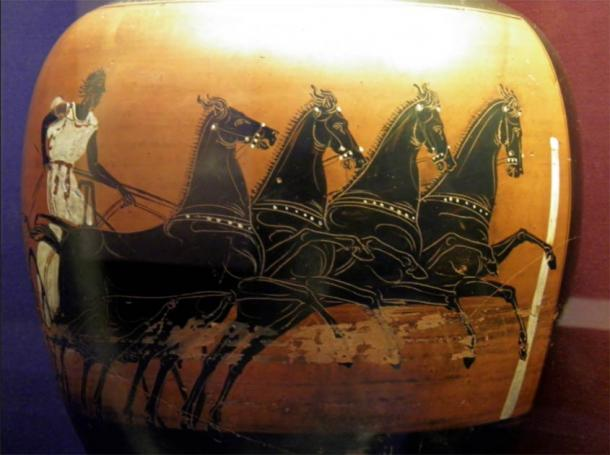 This vase belongs to a distinctive type given as a prize to the winner of the chariot race in the ancient games held at Athens during the yearly festival known as the Panathenaia. (Carole Raddato / CC BY-SA 2.0)