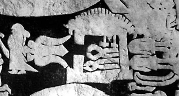 Völund's (Weyland) smithy in the center, Níðuð's daughter to the left, and Níðuð's dead sons hidden to the right of the smithy. Between the girl and the smithy, Völund can be seen as an eagle flying away. From the Ardre VIII stone that shows ancient figures from Norse mythology. (Public domain)