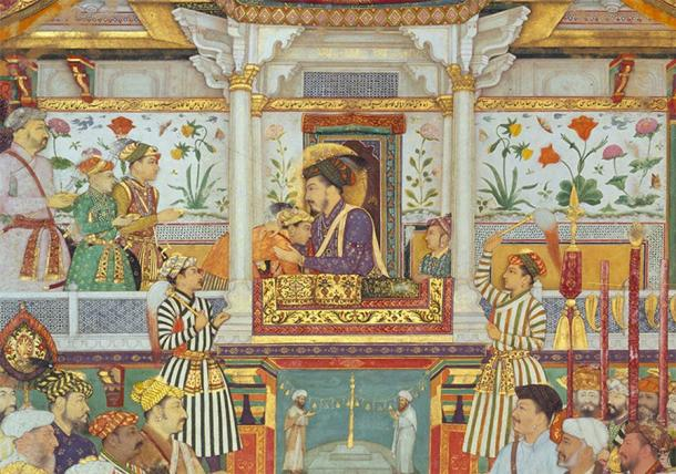 Shah Jahan, father to Jahanara and Roshanara, ascended to the throne in 1628. In the image he is depicted with his three eldest sons during his accession ceremony. (Public domain)