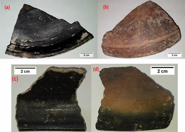 Keeladi Pottery shards (a,c) Inner portion showing the shining black coating (evidence of the nanomaterial presence), (b,d) Outer portion of the pottery shards. (Manivannan Kokarneswaran et al. 2020/Nature)