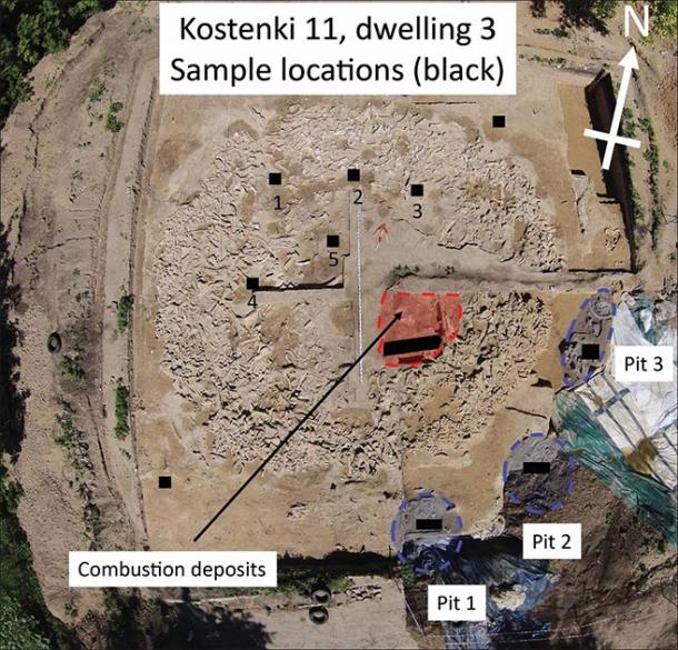 Aerial photograph of the new mammoth-bone structure at Kostenki 11, taken using a drone during excavations in 2015 (photograph by A. Yu. Pustovalov & A.M. Rodionov). Sampling locations are indicated by the black squares and rectangles. The location of the burnt deposits and pit features are also shown. (Image: A.J.E Pryor / Antiquity Publications Ltd)
