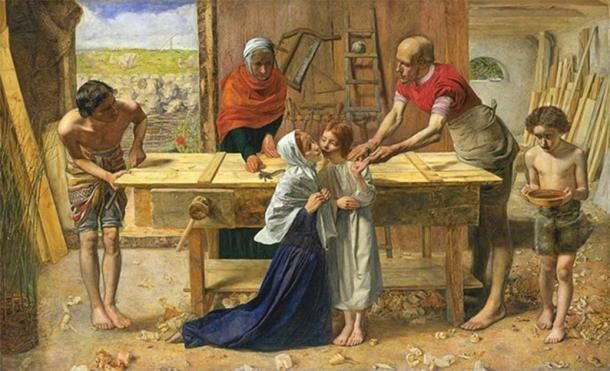 Idealized depiction by John Everett Millais of Jesus Christ in his childhood home in the workshop of his father Joseph. (Public domain)
